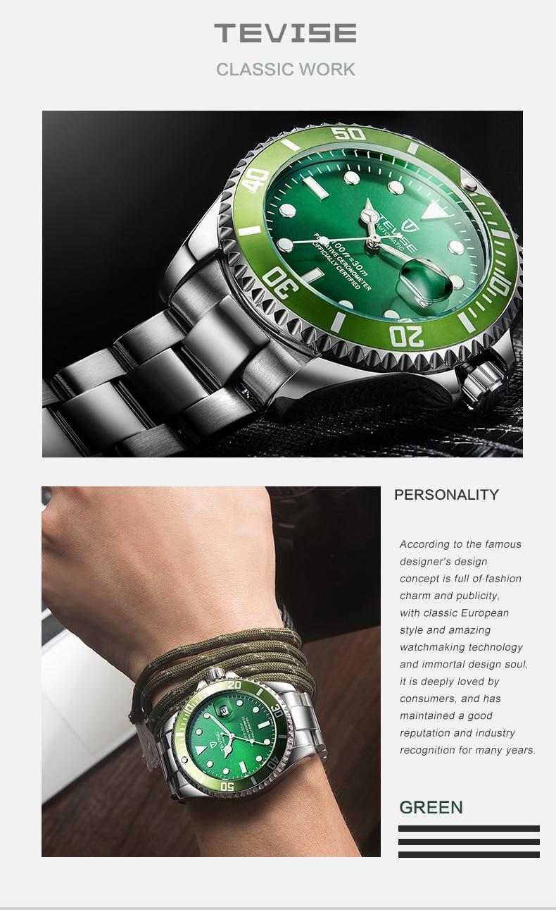 Orologi Designer Del Tempo trasporto di goccia tevise top di marca degli uomini meccanici della  vigilanza di modo automatico di lusso in acciaio inox orologio maschile  relogio