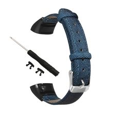 Vintage Vintage Denim Watch Strap Genuine Leather Wristband with Breathable Loop Metal Case for Huawei Band 3/3 Pro Smart Watch