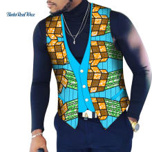 Custom Mens African Shirt Kleidung Bazin Riche Patchwork Print Top Weste 100% Baumwolle Dashiki Traditionelle Afrikanische Kleidung WYN107(China)