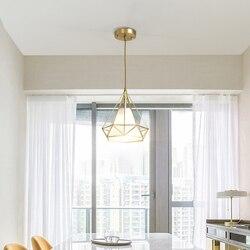 Diament piramida lampa wisząca światła lampy wiszące nowoczesne Nordic kreatywny E27 miedzi doprowadziły restauracja Bar pojedyncze głowy w Wiszące lampki od Lampy i oświetlenie na