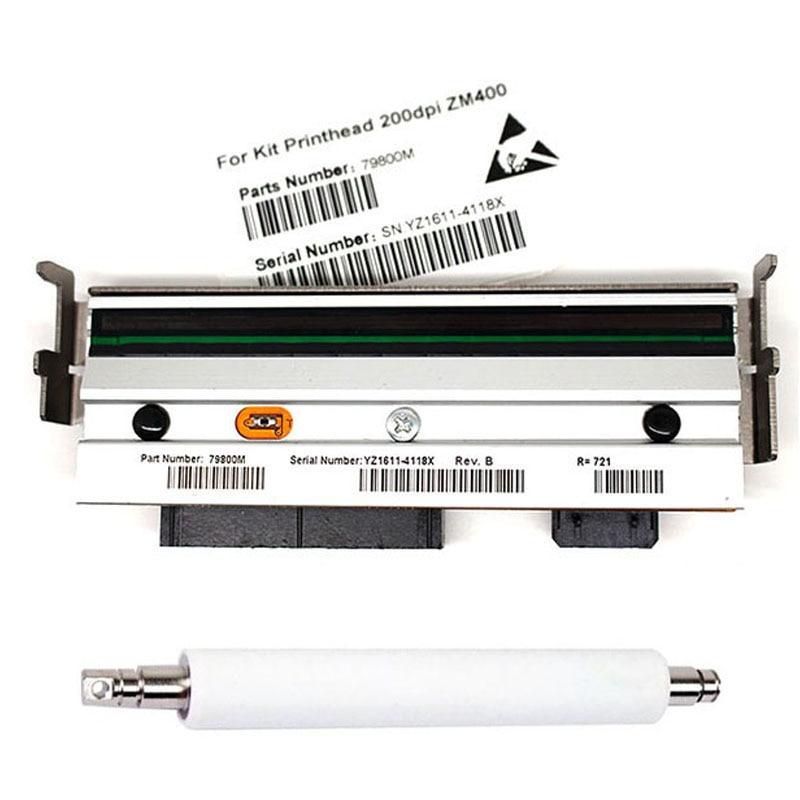 New print head 79800M ZM400 Rubber Roller + ZM400 Print head For Zebra ZM400 203dpi Thermal Barcode Printer(Warranty 3 month)