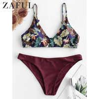 ZAFUL Tropical Leaf Print Bralette Bikini Swimsuit