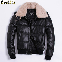 Boollili Men Winter Down Jacket Genuine Cowhide Leather Jackets Duck Down Coat for Men Plus Size 2020 Doudoune cheap REGULAR KJ1143 Casual zipper Full Pockets Zippers Thick (Winter) Lace Polyester White duck down NONE 300g Solid Short