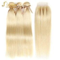 Joedir 613 Bundles Mit Verschluss Honig Blonde Menschliche Haarwebart Bundles Mit Verschluss Peruanische Gerade Haar Bundles Mit Verschluss