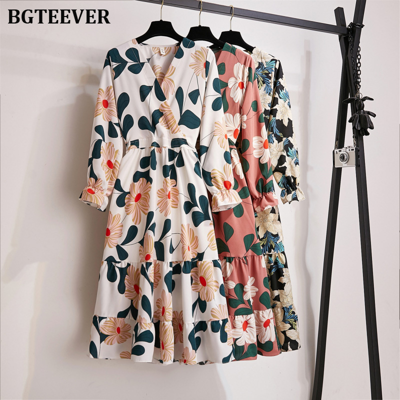 BGTEEVER A-line Multicolor Elastic Waist Flower Print Women Dress 2019 Autumn V Neck Fit And Flare Female Maxi Dress Vestidos