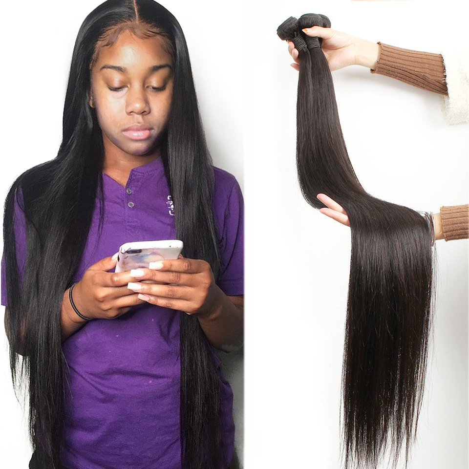 Fashow 30 32 34 36 40 Inch Straight Indian Hair Weaves Bundles100% Natural Human Hair 1 3 4 Bundles Double Wefts Thick Remy Hair