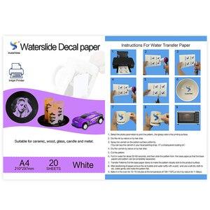 Image 5 - (20 גיליונות/הרבה) a4 גודל הזרקת דיו מגלשת מים מדבקות העברת נייר לבן רקע העברת נייר מגלשת מים מדבקות PrintingPaper