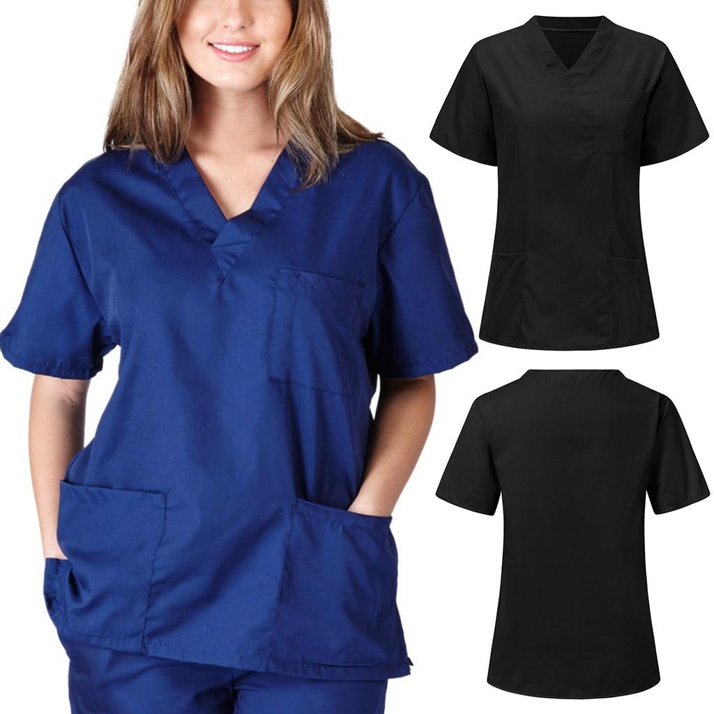 Men Women Short Sleeve V-neck Nursing Uniform Blouse Scrub Tops with Pocket Raincoats for Women Men Anti-splash Rain Coat Safety(China)