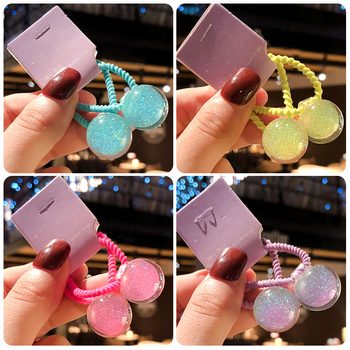 2 Pcs/Set Children Cute Candy Shiny Ball Elastic Hair Bands Baby Girls Lovely Sweet Scrunchies Rubber Bands Kid Hair Accessories 1 pcs new simple hair scrunchies flower beads double line elastic hair bands candy color lovely hair rope hair accessories girls