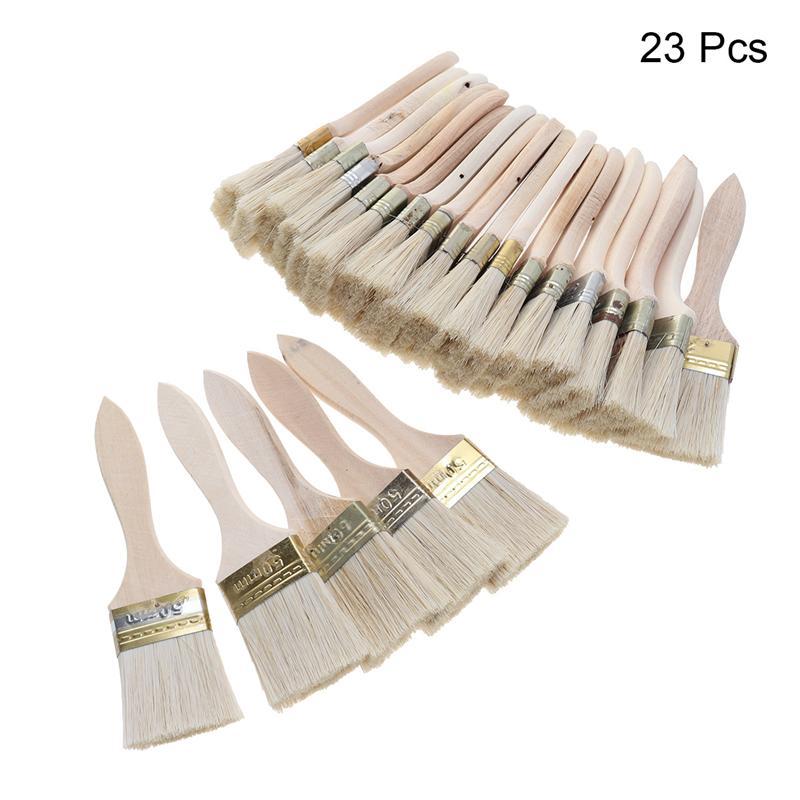23 pièces pinceaux manche en bois brosse à poils pour mur et meubles peinture pinceau (2 pouces, poignée mince)