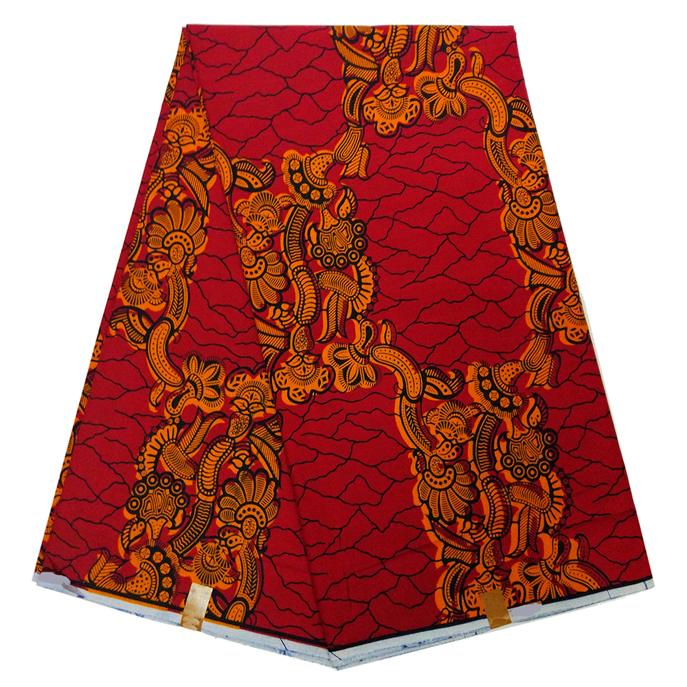 Ankara African Printed DIY Red Wax Fabric 100% Cotton High Quality Real Dutch Classy Fabric For Party Dress 6yards Per Lot
