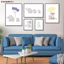 Cartoon Animal Prints Posters Elephant With Balloon Canvas Painting On The Wall For Kids Nursery Bedroom Home Decor Art Pictures