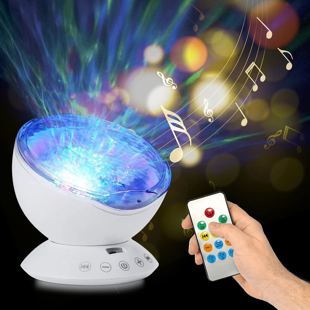 Ocean Wave Projector Light Led Night Lamp Music Player Remote Control USB Starry Projection Living Bedroom Party Decor Gifts D5