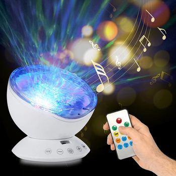 Ocean Wave Projector Light Led Night Lamp Music Player Remote Control USB Starry Projection Living Bedroom Party Decor Gifts