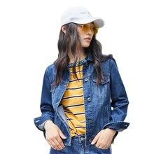סמיר 100% כותנה קצר ג ינס מעיל נשים צווארון ילדה החבר ג ינס מעיל חזה כיס אלכסון כיס שיק סגנון