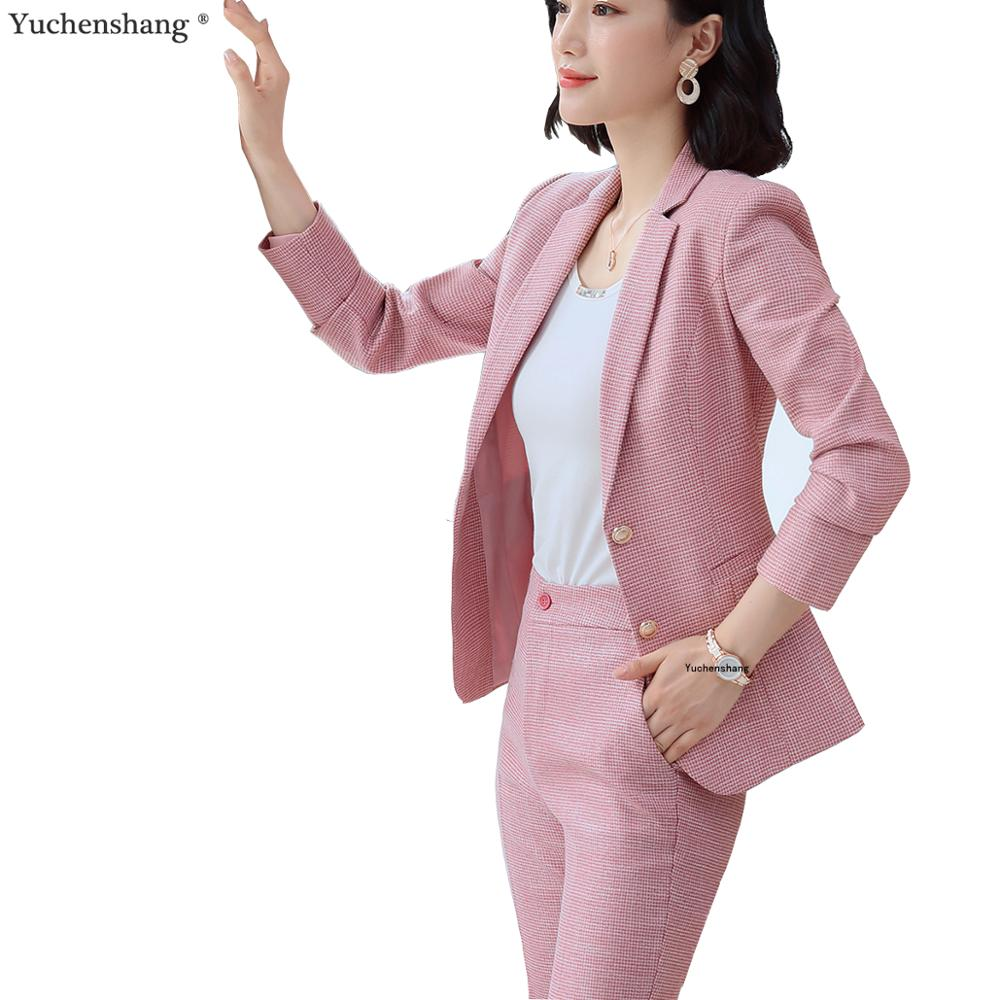 Single Breasted Women Pant Suit Pink Plaid Notched Blazer Jacket & Pant 2019 Fall Autumn Winter Office Lady Work Wear Suits