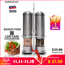 Nieuwe Elektrische Zout En Pepermolen Set Met Metalen Standaard Automatische Rvs Pepermolen Led Licht Spice Mill Voor keuken
