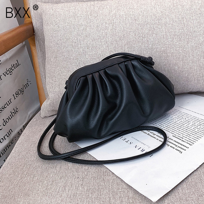 [BXX] Solid Color Simply PU Leather Crossbody Bags For Women 2020 Spring Fashion Shoulder Messenger Bag Lady Handbags HL004