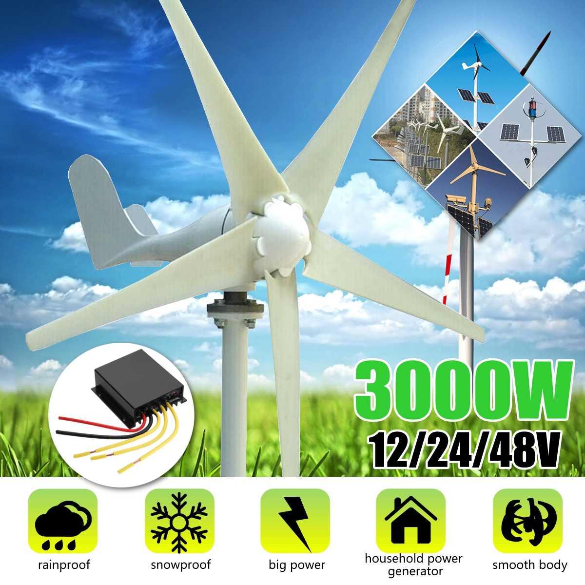 3000W 12 V/24 V/48 V 5 ostrza wiatr T Generator urbines + bezpłatny kontroler ładowania używać do mieszkalnych Solar Streetlight, łódź