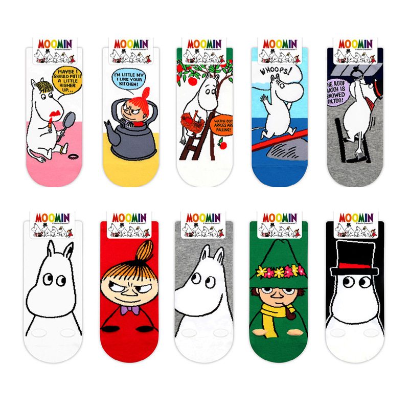 Anime Figure Print Socks Little My Snufkin Hippo Cute Funny Women Cotton Sock Absorb Sweat Breathable Comfort Calcetines Mujer