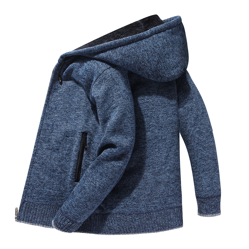Hooded Cardaigan Sweater Men Streetwear With Zipper Pocket Cardigan Coats Homme Knitted Sweater Winter Blue Mens Hoodies Clothes