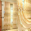 Однотонные шторы в европейском стиле с водорастворимой вышивкой для гостиной  столовой и спальни.