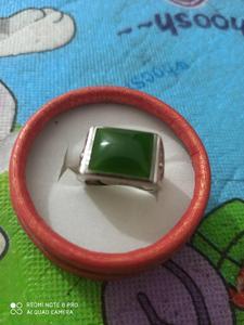 Синьцзян Хэтянь нефритовое кольцо, нефритовое кольцо, серебро 925 пробы инкрустированное кольцо, регулируемое и нефритовое кольцо.