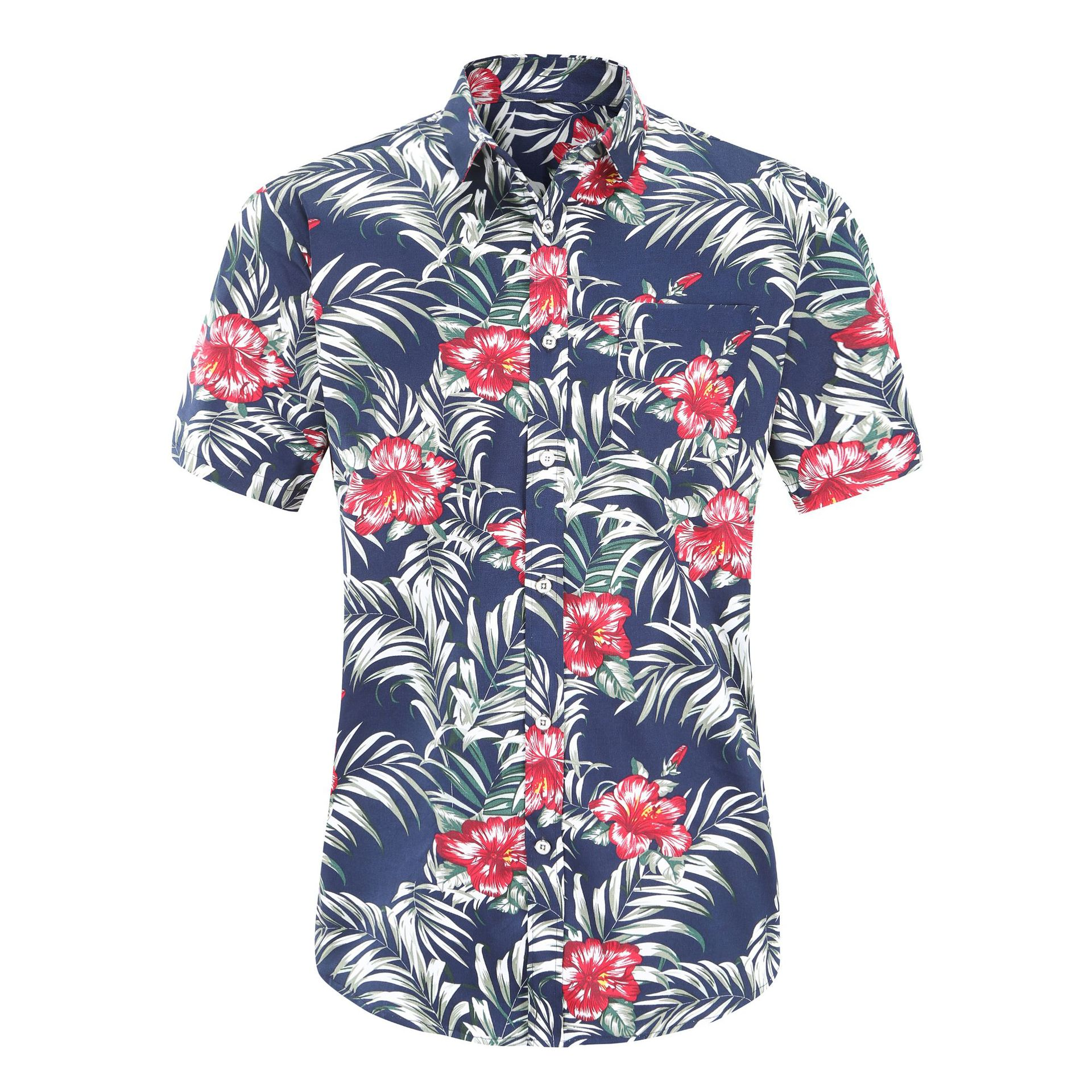 Jeetoo 2019 New Men's Slim Fit Flower Printed Shirts Male Short Sleeve Floral Shirt Men Basic Tops Casual Shirts Plus Size 3XL