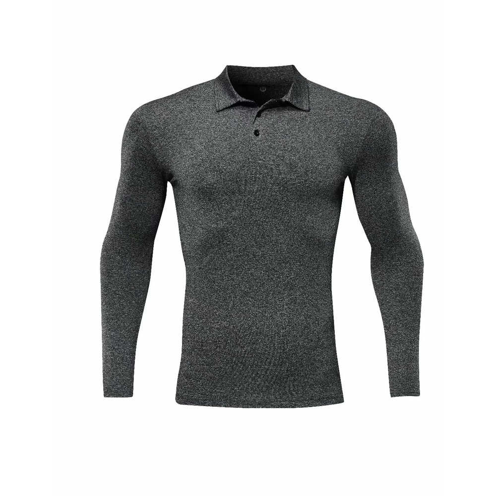 GYM Fitness POLO T-Shirt Men's Gym Running Polo Shirt Compression Tights Breathable Long Sleeve Sports Rashguard Jersey