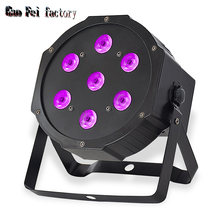 LED Party Lights 7X12W Lyre Wash Flat Par Uplight Sound Activated 512DMX Control RGBW Stage Effect For Disco Dance Wedding Bar