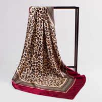 Luxury Kerchief Silk Satin Hijab Scarf For Women Square Shawls Leopard Print Head Scarfs Female 90*90cm Neck Scarves For Ladies