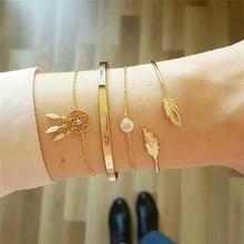 ZORCVENS 4 Pcs/ Set Vintage Dream Catcher Bracelets Boho Leaves Chain Opening Gold Color Bracelet for Women Fashion Jewelry