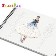 A4 ผู้หญิงแฟชั่นSketch Book Outlineแม่แบบผู้หญิงสวมใส่แฟชั่นภาพประกอบแม่แบบด้านหน้าด้านหลังรูป,50 แผ่นกระดาษ