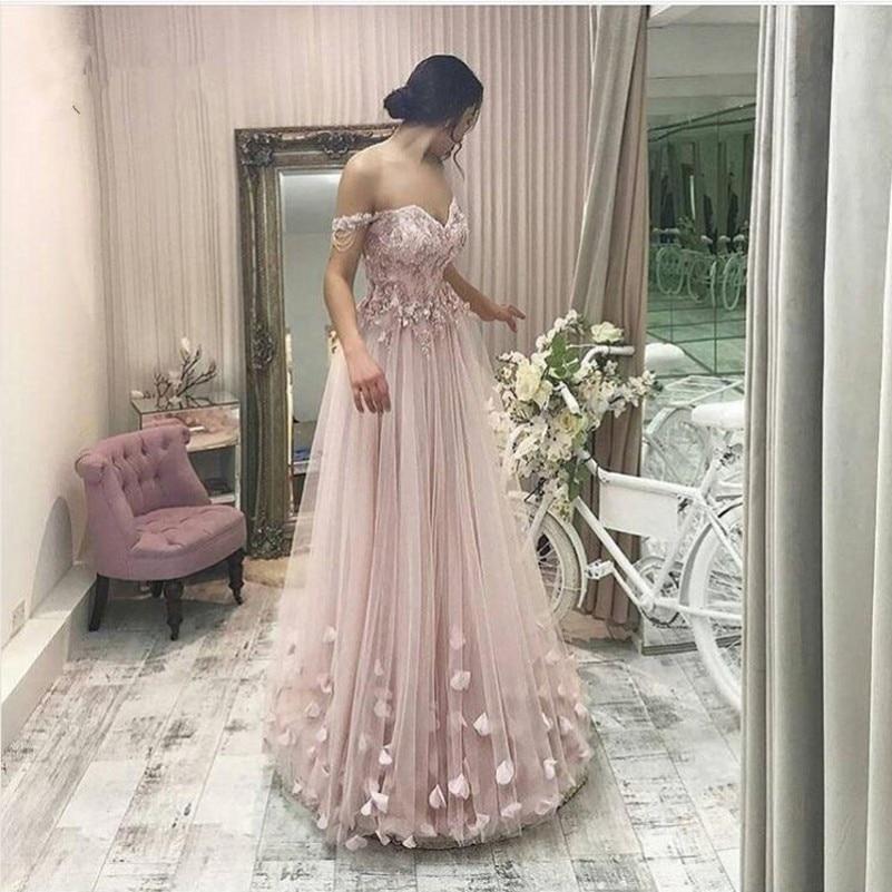 Vestidos de Baile Rendas até Vestidos de Baile Bonito Blush Rosa Flor Longo Renda Elegante Frisado Querida Rendas até Formal Vestido 2020 Abendkleider 3d