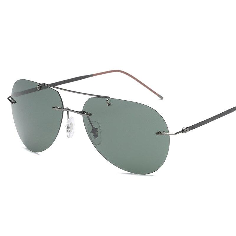 Поляризационные солнцезащитные очки без оправы для мужчин и женщин, Винтажные Солнцезащитные очки пилота для мужчин, очки для ночного