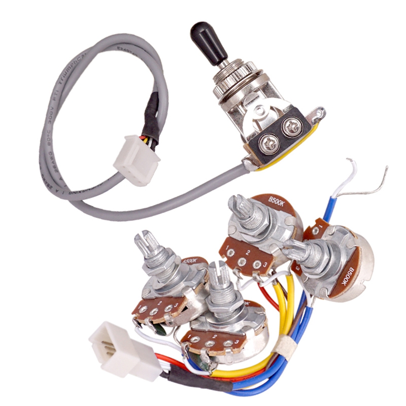 SEWS-Lp Electric Guitar Pickups Circuit Wiring Harness 2T2V 500K Pots 3 Way Switch For Gibson Les Paul Style Guitar