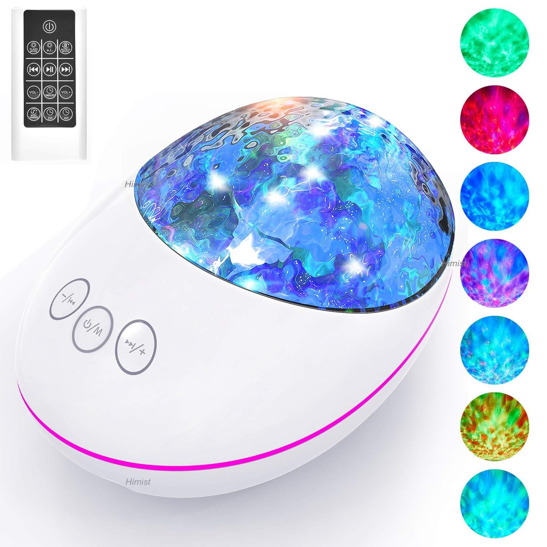 Lucky Stone Bluetooth Afstandsbediening Projectielamp Golven Nachtlampje Met Bluetooth Speaker Romantische Oceaan Projectielamp