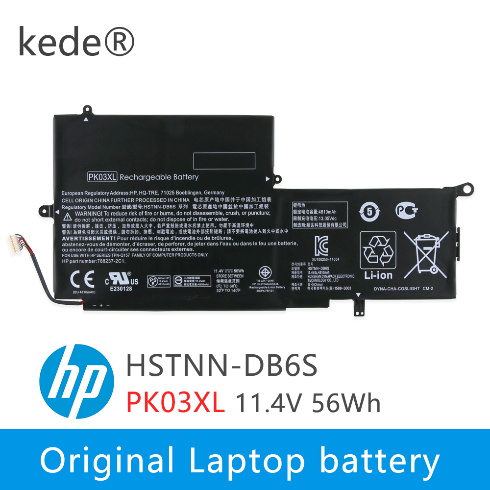 Kede  11.4V 56wh PK03XL Original Laptop Battery For HP Spectre Pro X360 Spectre 13 PK03XL HSTNN-DB6S 6789116-005