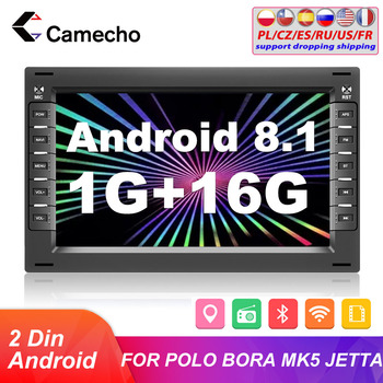 Camecho Android 2 Din Car Radio Multimedia Player 2din GPS WiFi Car Auto Stero For BORA POLO MK5 SHARAN JETTA MK4 CITI CHICO image