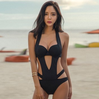 Summer Sexy Triangle One-piece Swimsuit Ladies Black Hollow Steel Support Small Chest Gathered Big Backless