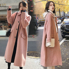 New Autumn winter Women Coat Streetwear Korean Single Breasted Wool White Woolen Female Elegant Outerwear Abrigo Mujer