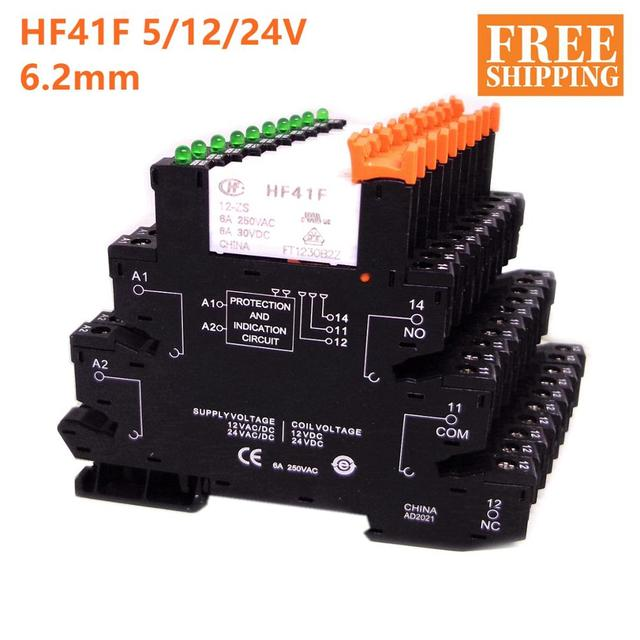 5pcs HF41F 24 ZS 12 ZS 5V 12V 24V 6A 1CO Slim Relay Mount On Screw Socket with LED and Protection Circuit 24VDC/AC Wafer relay