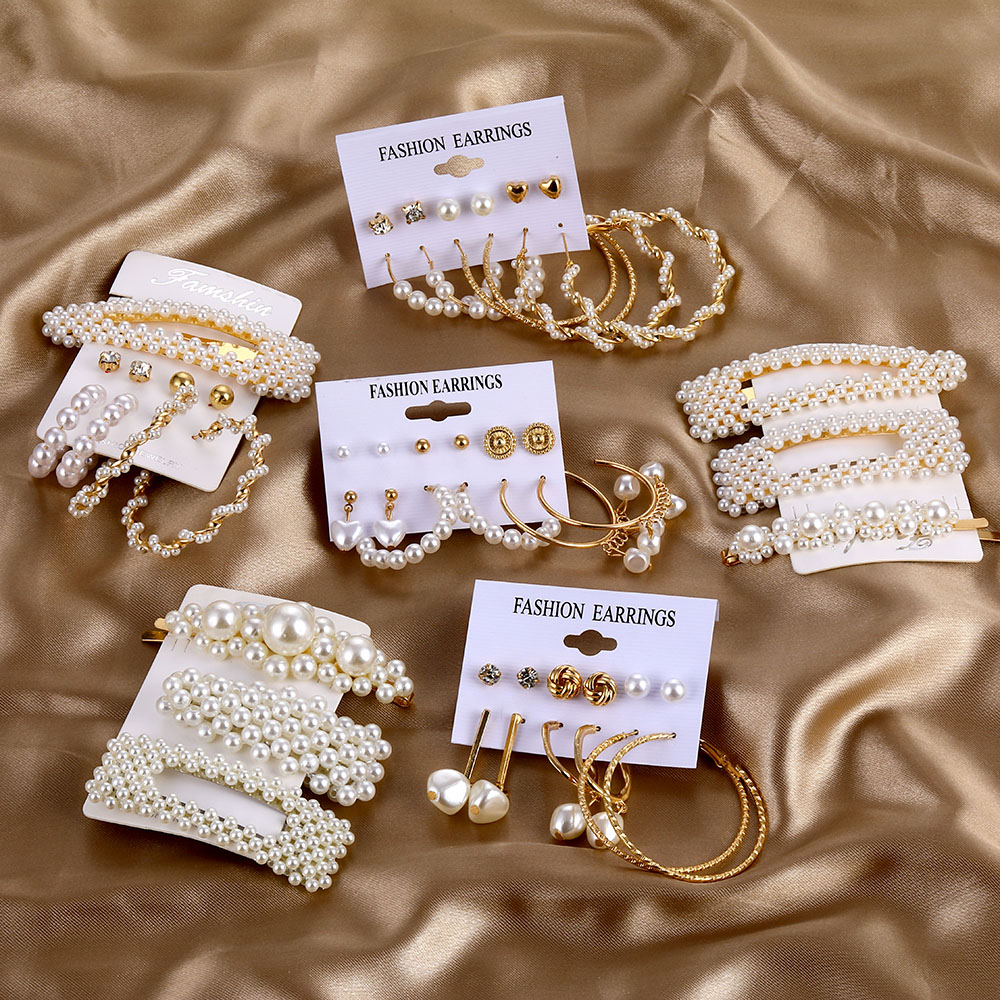 2020 Boho Gold Color Earrings Set Elegant Imitation Pearl Earrings For Women Tassel Dangle Earrings Brincos Fashion Jewelry