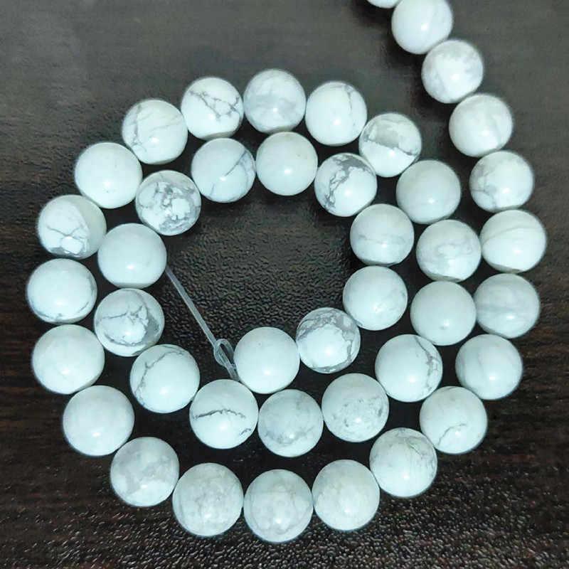 Contas de turquesa por atacado, 4mm 6mm 8mm 10mm turquesa contas lisas e redondas, pingentes para diy colar encantos pulseira jóias.