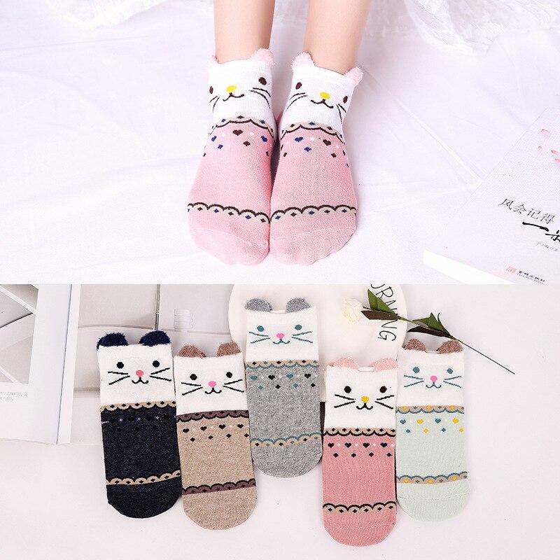 Japanese fashion cute kawaii woman socks cotton cartoon expression animal socks Harajuku funny hip hop pink cat socks