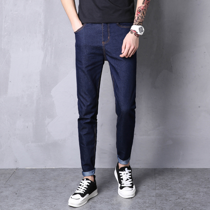 LEFT ROM 2019 Spring Summer New Fashion Men Casual Stretch Skinny   Jeans   Slim fit Trousers Tight Pants Solid Colors Pencil 28-38