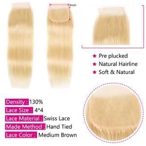 Image 3 - Schönheit Für Immer Blonde #613 Brasilianische Gerade Menschliches Haar Verschluss 4*4 Freies Teil Remy menschliches haar Schweizer Spitze verschluss