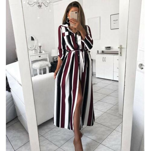 Women Colourful Striped Long Maxi Button Shirt Dress Evening Party Long Sleeve Summer Loose Beach Elegante Long Dresses