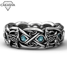 Celtic Wolf Zircon Ring Wolf Totem 925 Silver Dyed Black Ring Vintage Stone Thai Silver Ring