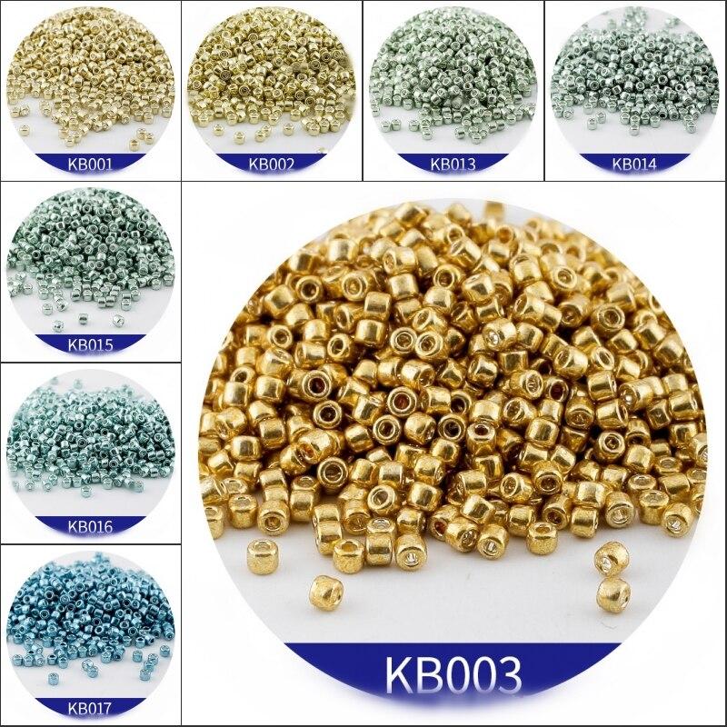 600 pçs 2mm miyuki delica grânulos de vidro 10/0 cor do ouro estilo bohemia metálico brilho grânulo para diy jóias fazendo bracelele brincos